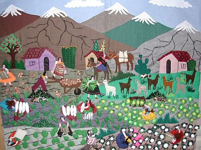 hanging with lots of figures, mountains, animals and crops on it