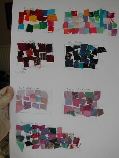 scraps of coloured fabric glued to paper in colour groups