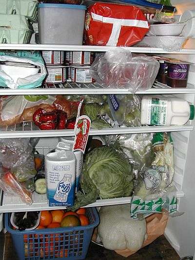 extremely full fridge inside