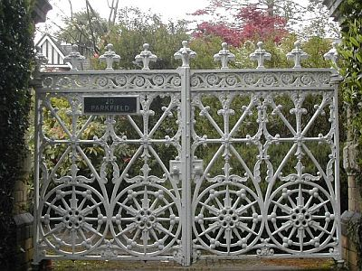 white wrought iron gate