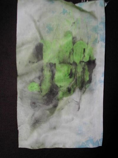 black and green monoprinted fabric