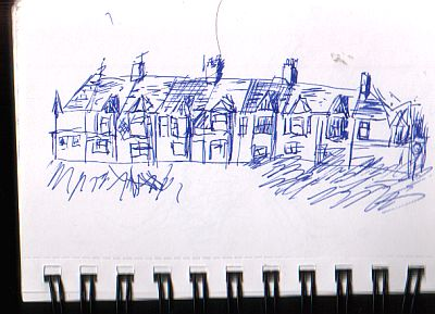 drawing of a line of houses