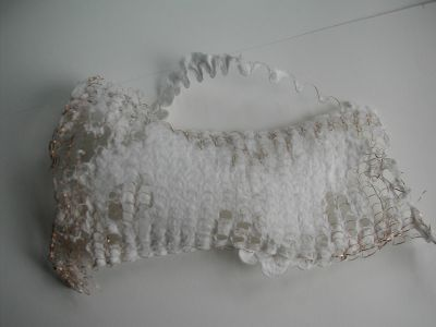 handmade paper white with wire enclosed