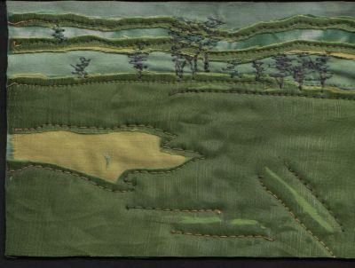 fabric postcard of landscape