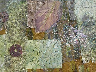 detail of previous quilt with angelina, linen, handmade paper etc