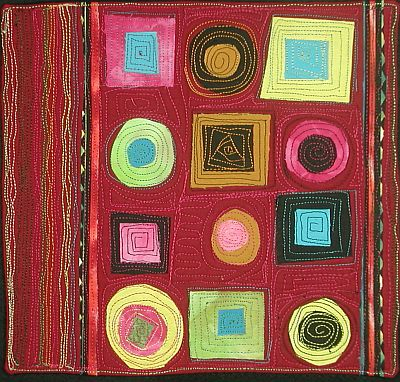 quiltlet with lots of colourful circles