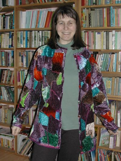 strange woman in weird jacket