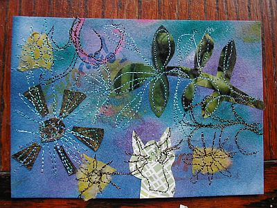 stitched collage postcard