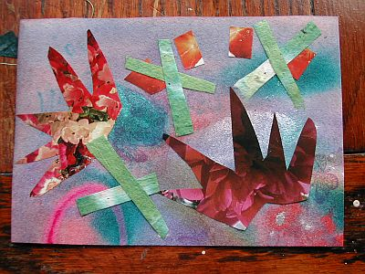 collage on painted background