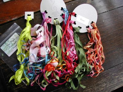 lots of different widths of colourful hand dyed silk ribbon