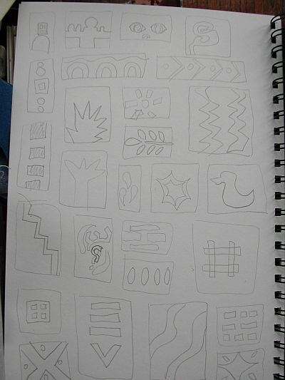 page of sketches for printing blocks