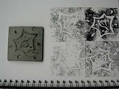 sketchbook page with prints