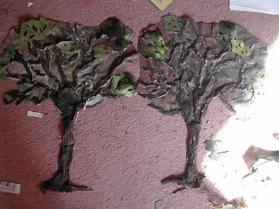 trees cut out from fabric with leaves
