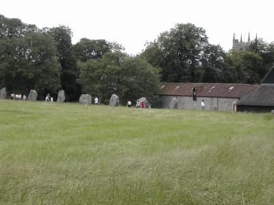 row of stones and village beyond