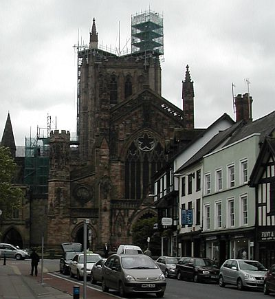 Hereford Cathedral and black and white house