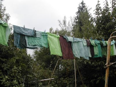 green, black and blue fabric on washing line
