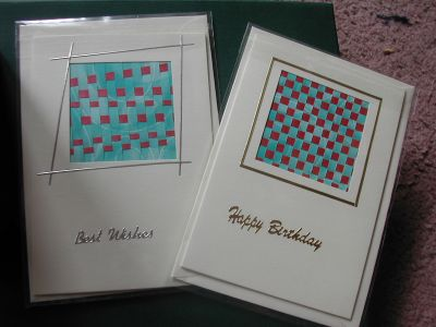 cards created by weaving paper and sticking it into an aperture card