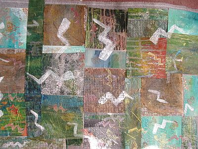 collage with zigzags painted in white fabric paint