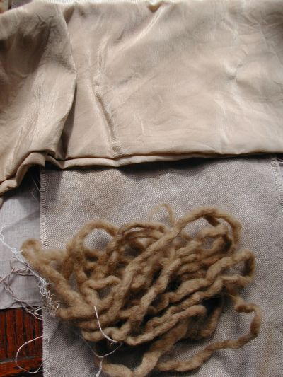 wool rovings, silk and linen dyed brown